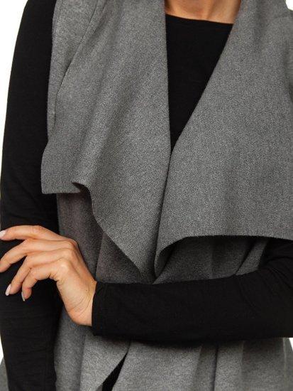Grafitový dámský svetr kardigan bez rukávů Bolf AL0220L