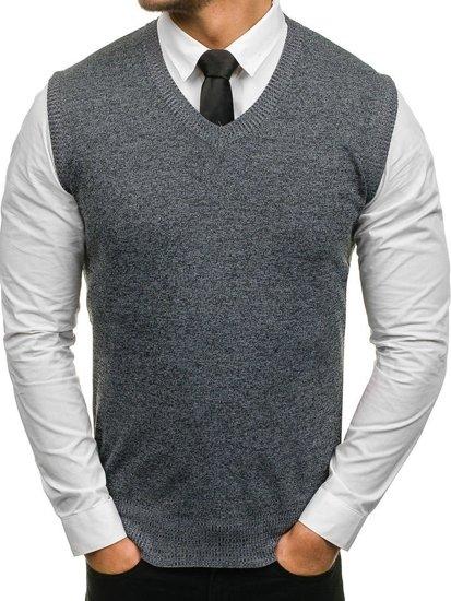 Grafitový pánský svetr bez rukávů Bolf H1715