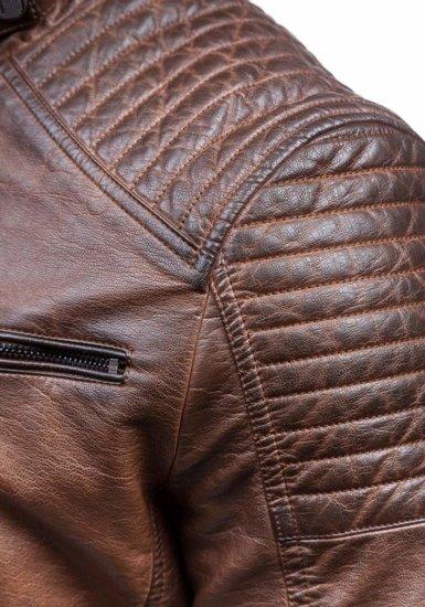 Hnědá pánská koženková bunda Bolf 1773A