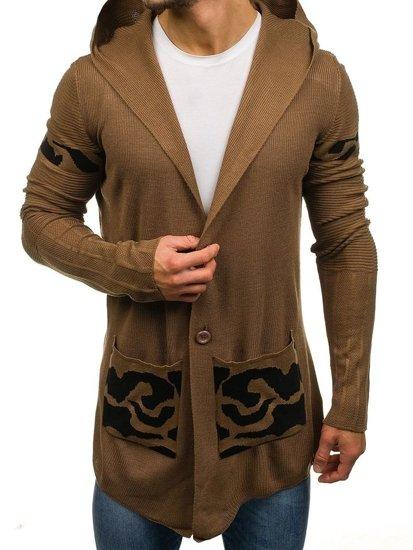 Hnědý pánský prodloužený propínací svetr s kapucí Bolf 2123