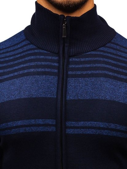 Inkoustově modrý pánský propínací svetr Bolf BM6132