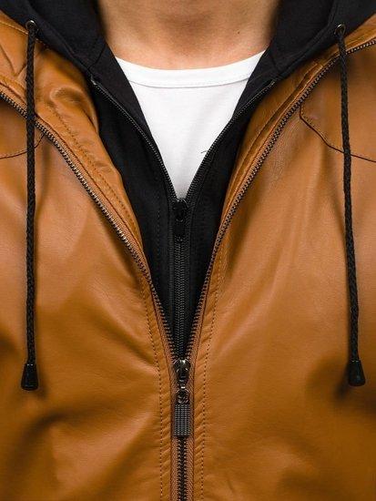 Kamelová pánská kožená bunda z ekokůže Bolf 9005