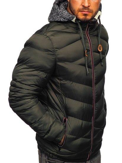Khaki pánská prošívaná sportovní zimní bunda Bolf 50A163