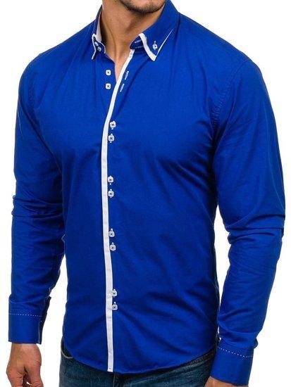 Královsky modrá pánská elegantní košile s dlouhým rukávem Bolf 1721-A
