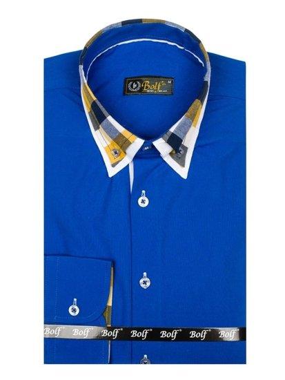Kralovský modrá pánská elegantní košile s dlouhým rukávem Bolf 6966