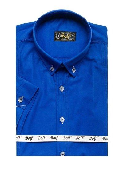 Královsky modrá pánská elegantní košile s krátkým rukávem Bolf 5535