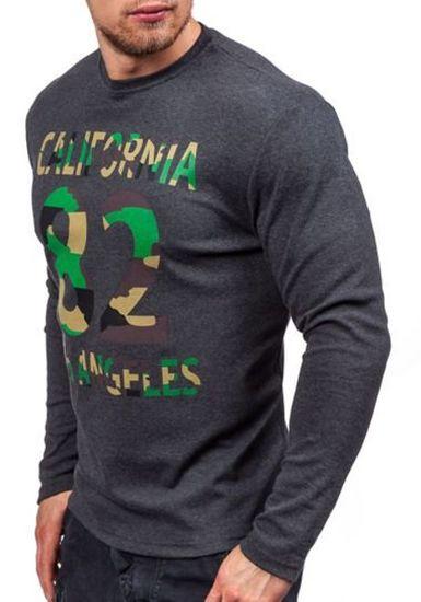 Maskáčovo-antracitové pánské tričko s dlouhým rukávem a potiskem Bolf 4630