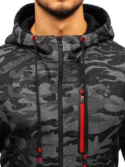 Maskáčovo-grafitová pánská mikina na zip s kapucí Bolf 33013
