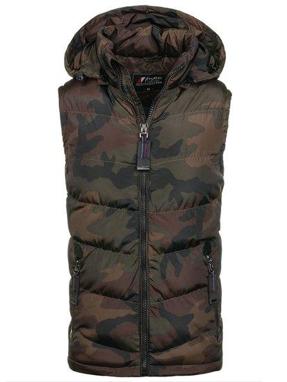 Maskáčovo-hnědá pánská vesta s kapucí Bolf 4786