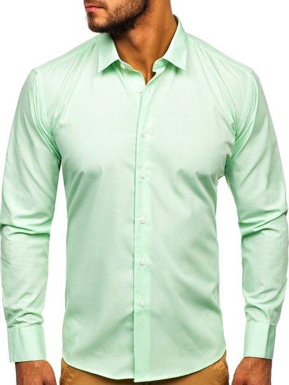 Mátová pánská elegantní košile s dlouhým rukávem Bolf 0001