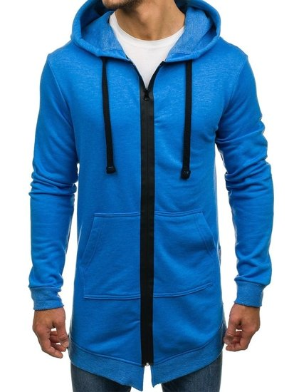 Modrá pánská dlouhá mikina na zip s kapucí Bolf 0891