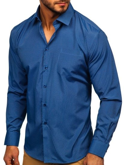 Modrá pánská elegantní proužkovaná košile s dlouhým rukávem Bolf NDT9