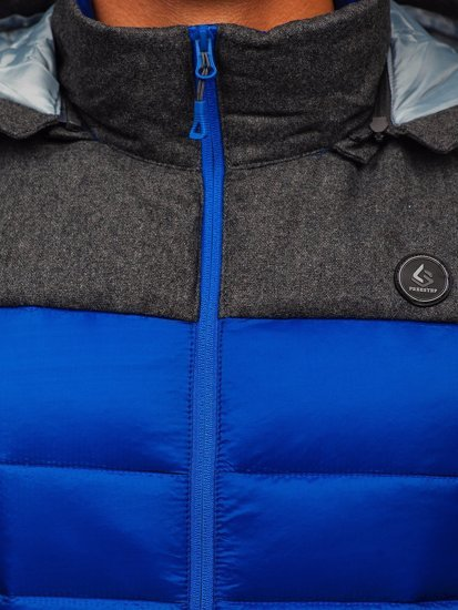 Modrá pánská prošívaná vesta s kapucí Bolf AB045