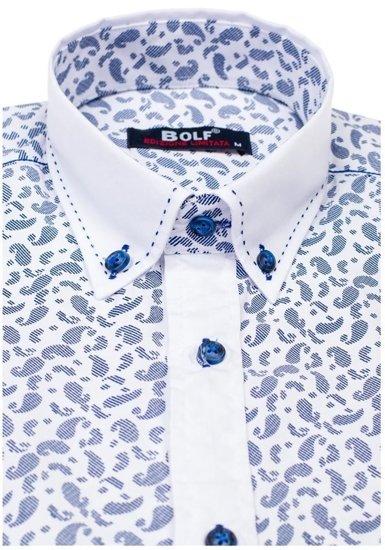 Modrá pánská vzorovaná košile s dlouhým rukávem Bolf 6926
