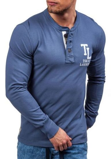 Modré pánské tričko s dlouhým rukávem a potiskem Bolf 5037