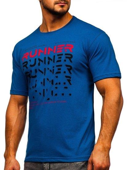 Modré pánské tričko s potiskem Bolf 14336