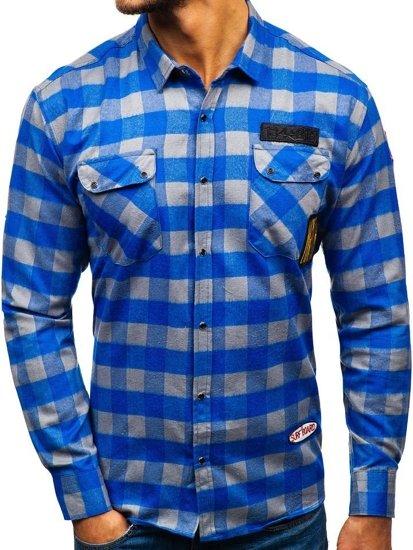 Modro-šedá pánská flanelová košile s dlouhým rukávem Bolf 2503