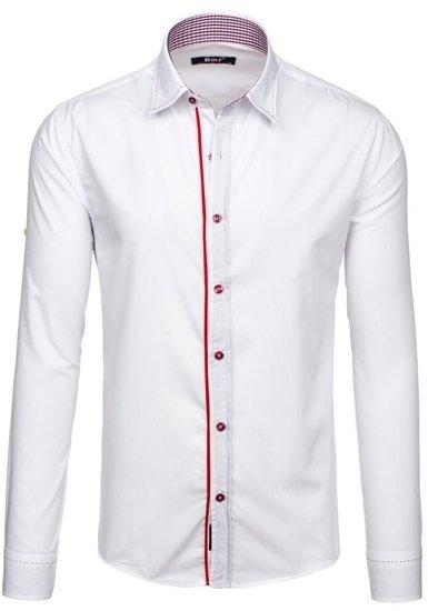 Pánská bílá elegantní košile s dlouhým rukávem Bolf 6932