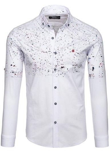Pánská bílá vzorovaná košile s dlouhým rukávem Bolf 1526