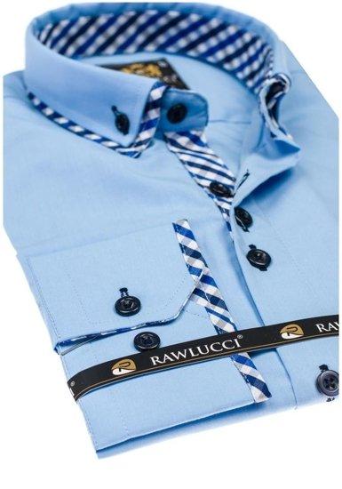 Pánská blankytná elegantní košile s dlouhým rukávem Bolf 776