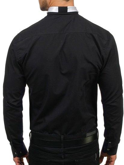 Pánská černá elegantní košile s dlouhým rukávem Bolf 4714-1