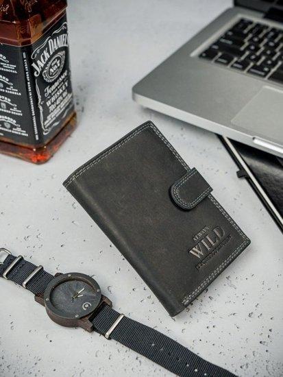 Pánská černá kožená peněženka 3173