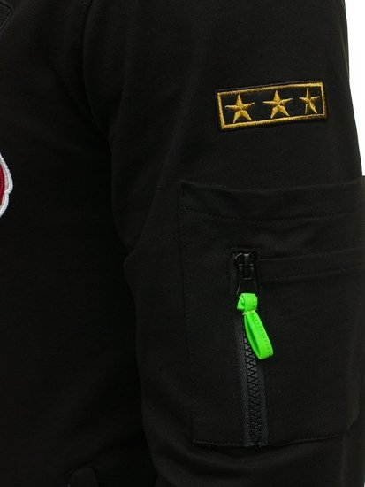 Pánská černá mikina bez kapuce Bolf 0733