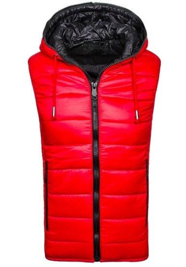 Pánská červená prošívaná vesta s kapucí Bolf 504