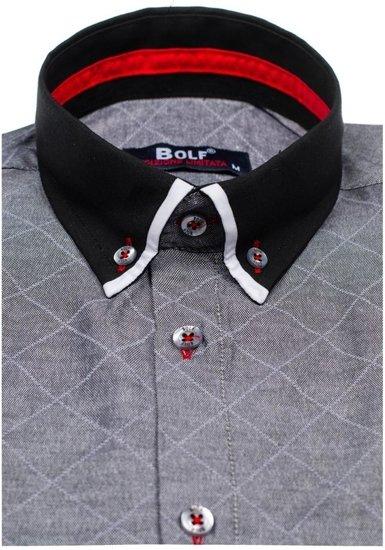 Pánská grafitová vzorovaná košile s dlouhým rukávem Bolf 6931