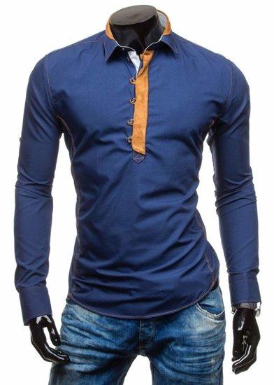 Pánská košile BOLF 5783 tmavě modrá