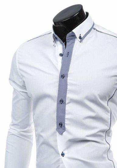 Pánská košile BOLF 5800 bílo-tmavě modrá