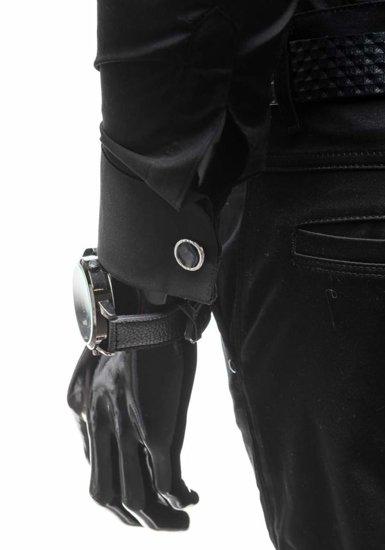 Pánská košile MAX WAY 4779 černá+motýlek+manžetové knoflíky
