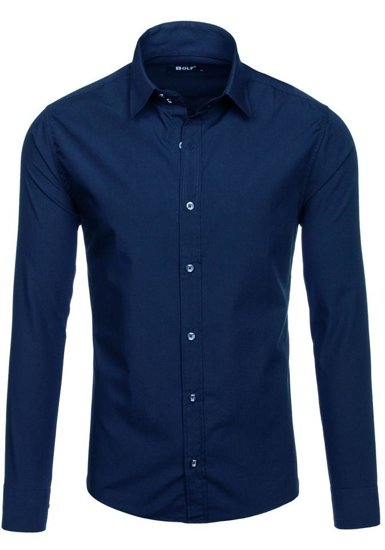 Pánská tmavě modrá elegantní košile s dlouhým rukávem Bolf 6928