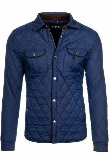 Tmavě modrá pánská elegantní přechodová bunda Bolf 010