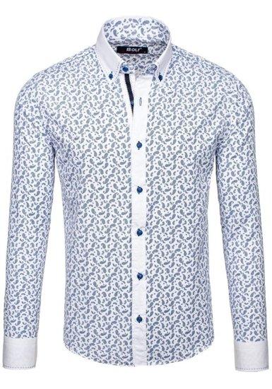 Pánská tmavě modrá vzorovaná košile s dlouhým rukávem Bolf 6926