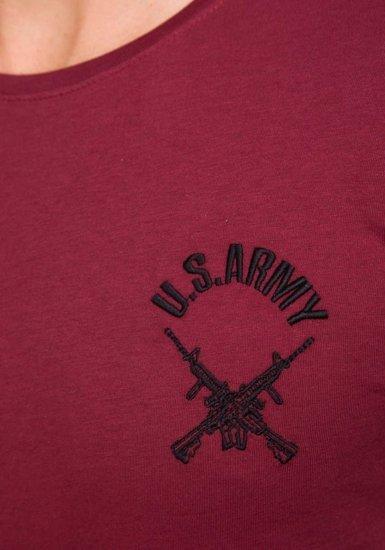 Pánské bordové tričko s potiskem Bolf 9021