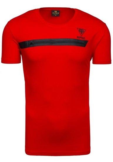 Pánské červené tričko s potiskem Bolf 5118