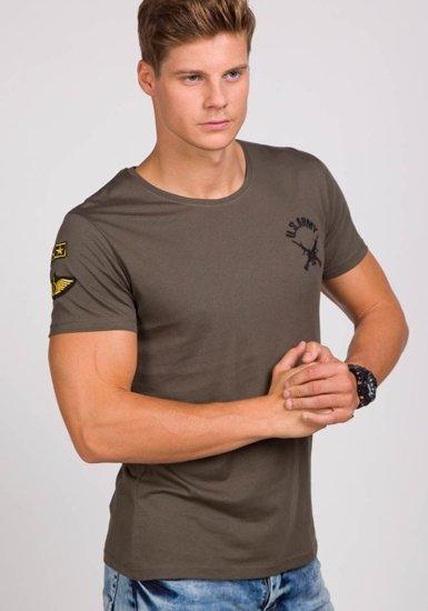Pánské khaki tričko s potiskem Bolf 9021