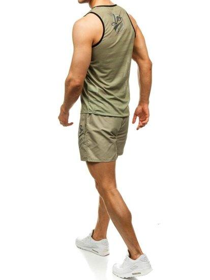 Pánský plážový komplet: plážové tričko + koupací šortky zeleno-tmavě modré Bolf 2117