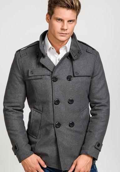Pánský šedý zimní kabát Bolf 308