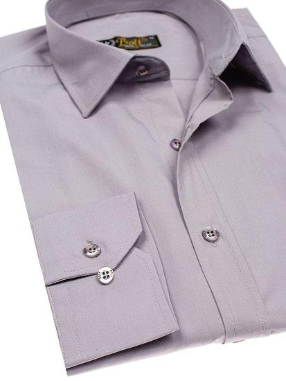 Šedá pánská elegantní košile s dlouhým rukávem Bolf 1703