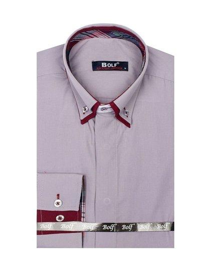 Šedá pánská elegantní košile s dlouhým rukávem Bolf 5895