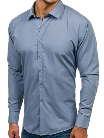 Šedá pánská elegantní košile s dlouhým rukávem Bolf TS100