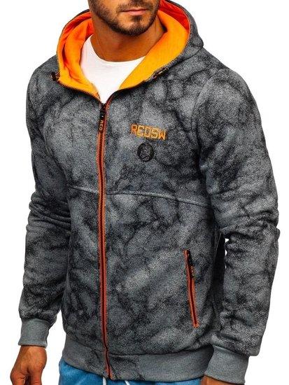Šedá pánská mikina na zip s kapucí Bolf W1566