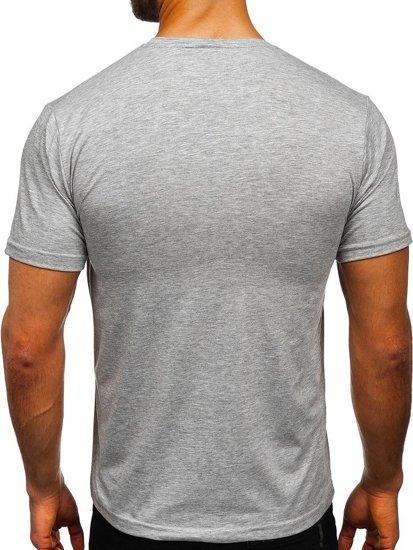 Šedé pánské tričko bez potisku Bolf 192132