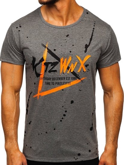 Šedé pánské tričko s potiskem Bolf KS2037