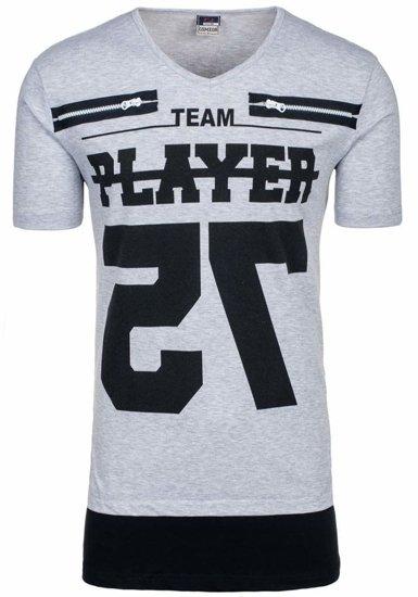 Šedé pánské tričko s potiskem s výstřihem do V Bolf 3584