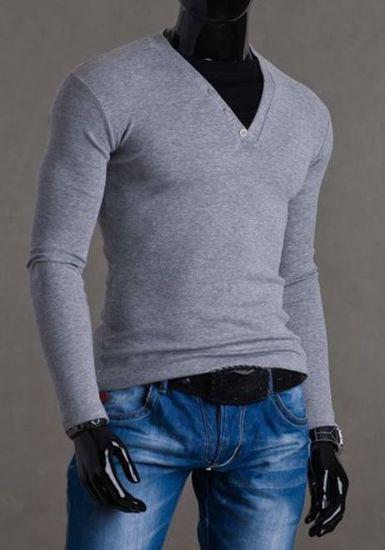 Šedo-černé pánské tričko s dlouhým rukávem bez potisku Bolf 0004