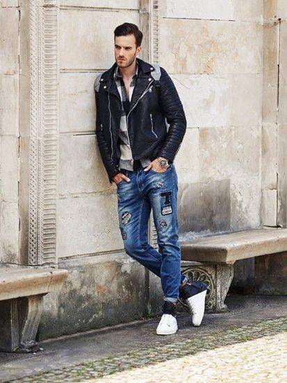 Stylizace č. 321 - kožená bunda, flanelová košile, džíny