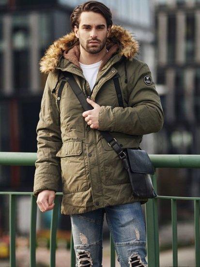 Stylizace č. 368 - brašna, zimní parka, propínací svetr, klasické tričko, džínové jogger kalhoty